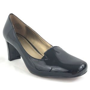 Joan & David Black Leather Pumps Luxe Square Toe